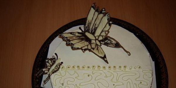 Как сделать бабочки из шоколада на торт своими 75