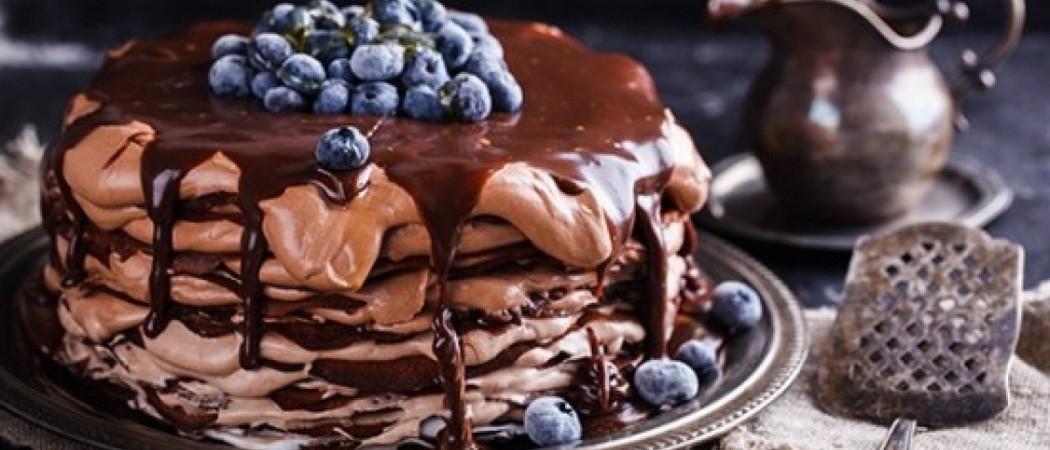 Шоколадные блинные торты с разными начинками